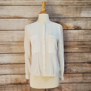 Anthro Maeve White Collarless Buttondown Shirt